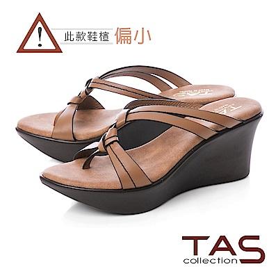 TAS 質感素面立體雙結繫帶楔型涼拖鞋-質感卡其