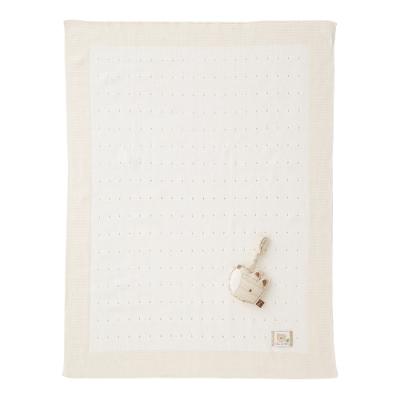奇哥 有機棉針織棉毯禮盒-洞洞厚款(毯子+安撫玩偶)