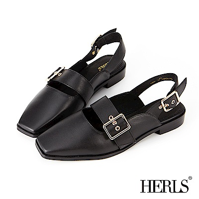 HERLS 全真皮 方頭釦環低跟涼鞋-黑色