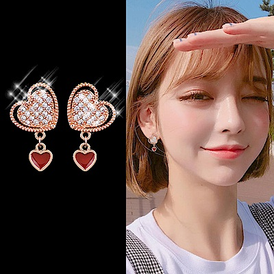 梨花HaNA 韓國925銀針愛的3.14愛心滿鑽耳環