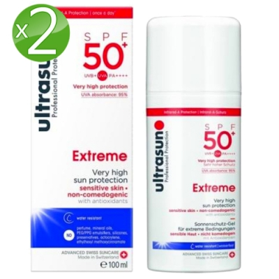 Ultrasun優佳 高倍防護防曬乳SPF50+*2入組PA++++(100ml/罐)