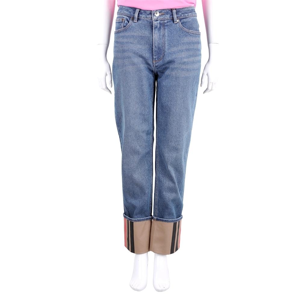 Burberry Marissa 格纹反摺褲腳藍色直筒牛仔褲(女款)