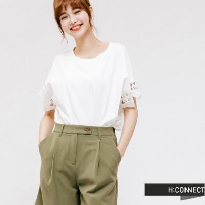 H:CONNECT 韓國品牌 女裝 -袖口雕花摟空上衣-白