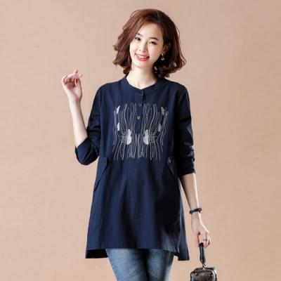 七分袖寬鬆中長款刺繡棉麻襯衫L-5XL(共兩色)-KVOLL