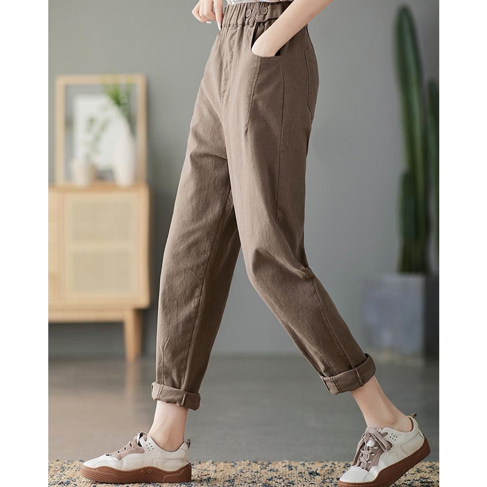 棉質鬆緊腰紐扣設長褲子四色可選-設計所在