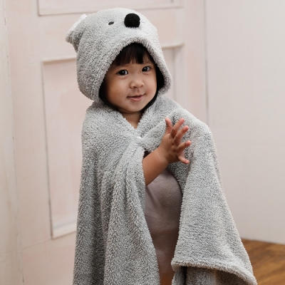 【MORINO摩力諾】動物造型速乾兒童連帽罩袍 披風 抱枕(無尾熊) 附提袋