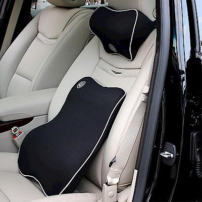 威力鯨車神 高科技太空記憶棉手工皮製汽車頭枕腰靠組(黑色灰邊)