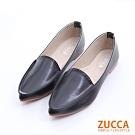 ZUCCA-素面皮革尖頭平底鞋-黑-z6524bk