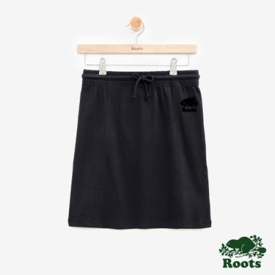 女裝Roots 海狸休閒短裙-黑