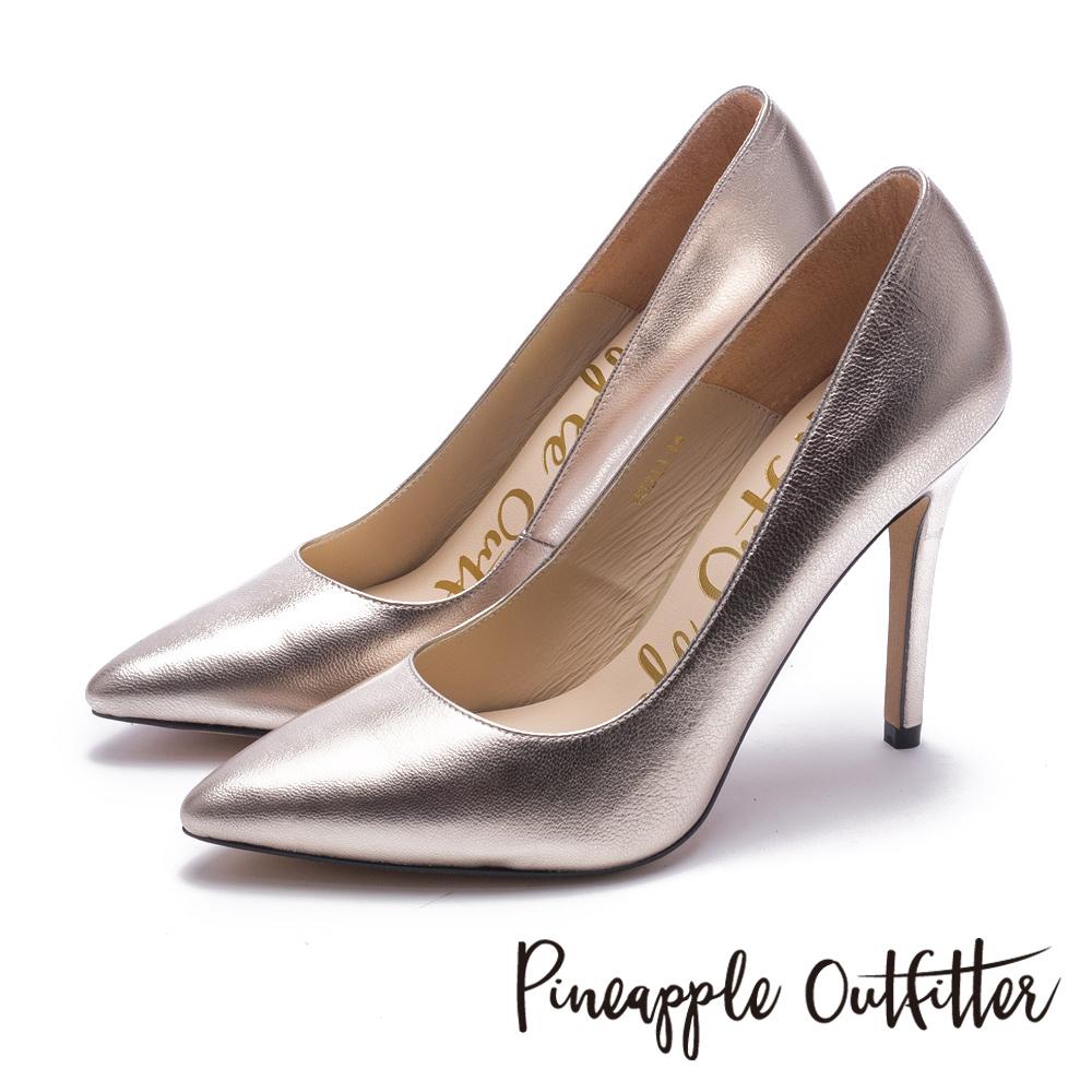 Pineapple Outfitter 性感尤物 素面尖頭高跟鞋-金色
