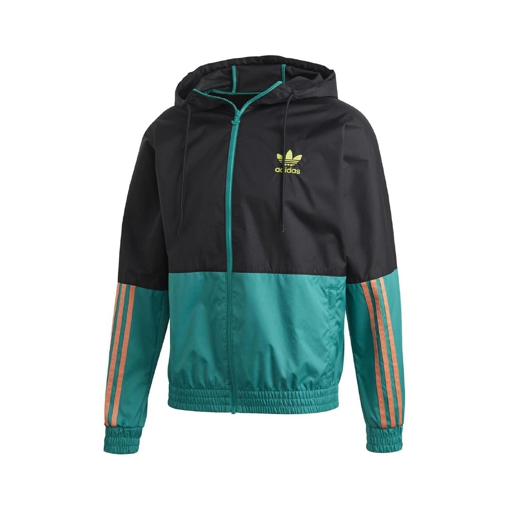 adidas 外套 Adicolor Jacket 運動休閒 男款 愛迪達 三葉草 拼接 撞色 穿搭 連帽 黑 綠 GK5923