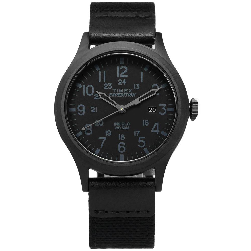 TIMEX 天美時 INDIGLO專利冷光照明 24小時顯示帆布手錶-黑/40mm