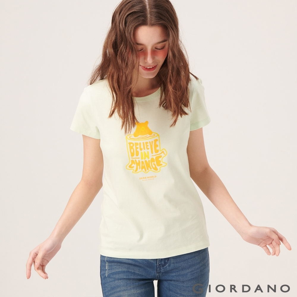 【GIORDANO】女裝DEAR WORLD系列印花T恤-42 淺綠