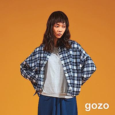 gozo 經典藍灰配色格紋布休閒襯衫(二色)