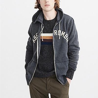 麋鹿 AF A&F 經典文字刺繡連帽外套-深藍色