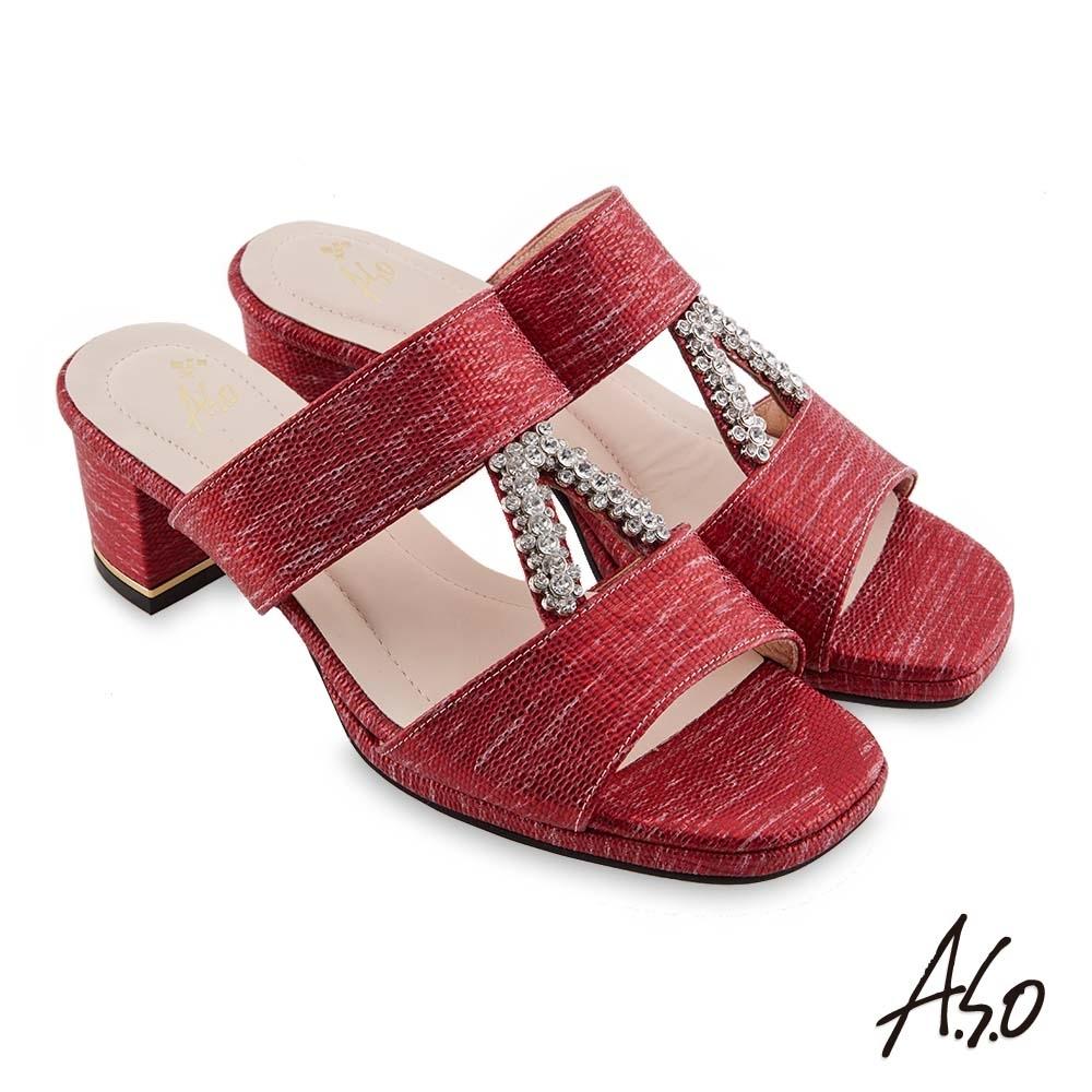 A.S.O 時尚流行 摩登時尚金屬質感粗跟涼鞋-紅