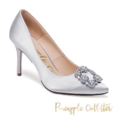 Pineapple Outfitter 氣質名媛 清新方鑽飾釦尖頭高跟鞋-灰色