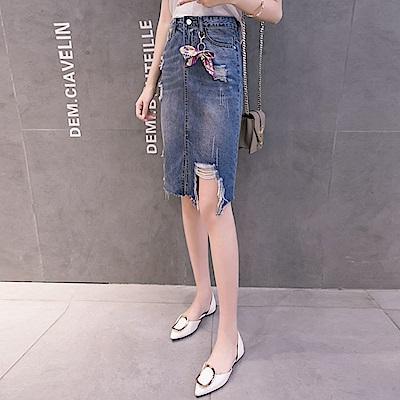 特色刷破設計款牛仔裙S-XL-WHATDAY