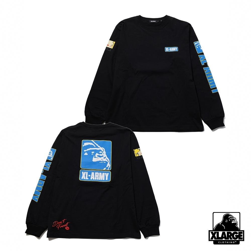 XLARGE L/S TEE XL-ARMY長袖T恤-黑