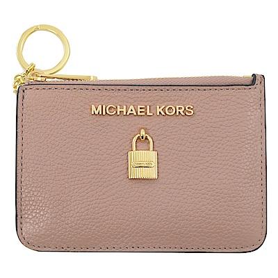 MICHAEL KORS ADELE 鎖頭造型鑰匙零錢包(淡黃褐色)