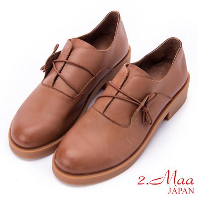 2.Maa 漸層牛皮側綁帶粗跟牛津鞋 - 棕