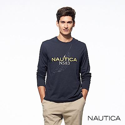 Nautica簡約品牌圖騰純棉長袖TEE-深藍