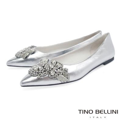 Tino Bellini 亮鑽鏽花尖頭平底娃娃鞋_銀
