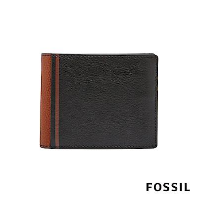 FOSSIL JEROME 撞色款多卡兩折短夾-黑/棕