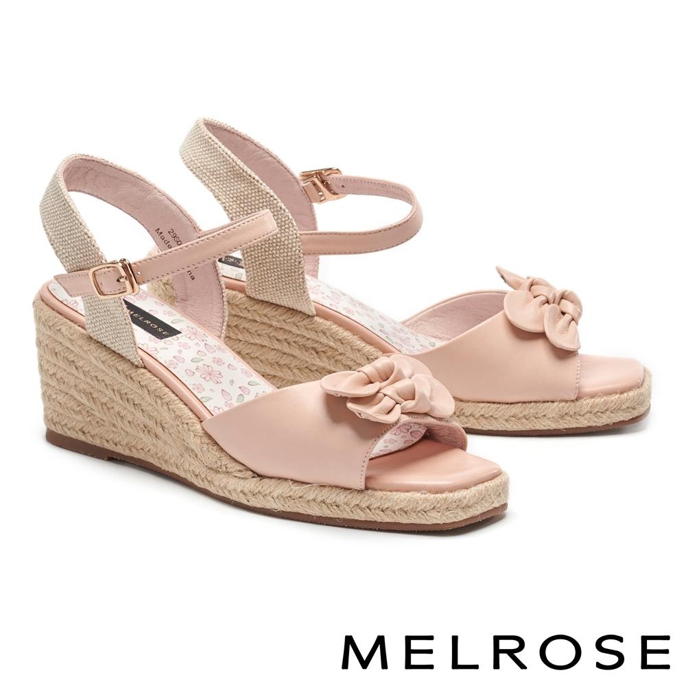 涼鞋 MELROSE 清新草編蝴蝶結羊皮楔型高跟涼鞋-粉