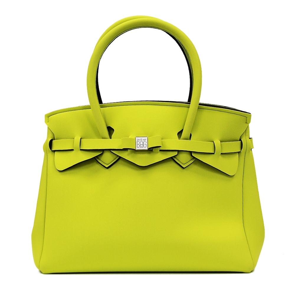 SAVE MY BAG 義大利品牌 MISS PLUS升級版 黃綠色超輕量拉鍊手提托特包