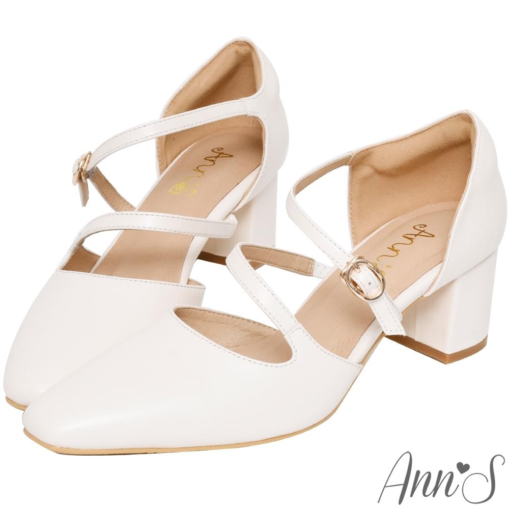 Ann'S修圖效果-顯瘦腳背斜帶沙發後跟粗跟方頭鞋-白