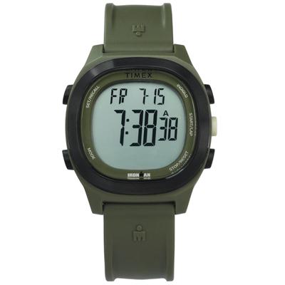 TIMEX 天美時 IRONMAN 鐵人系列 碼錶鬧鈴防水電子橡膠手錶-墨綠色/40mm