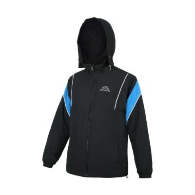 KAPPA 男單層刷毛裡外套-平織 連帽外套 防潑水 防風 反光 保暖 331429W-005 黑白
