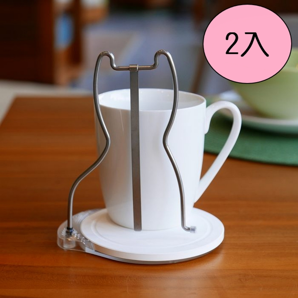 歐士OSHI 轉杯架 (貓) 附贈馬克杯 2入組/吸水杯墊/不鏽鋼杯架/攪拌棒