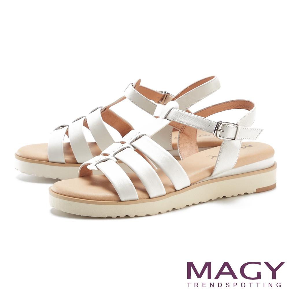 MAGY 魚骨簍空真皮厚底 女 涼鞋 白色