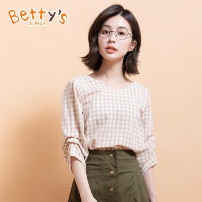 betty's貝蒂思 日系七分袖V領格紋上衣(卡其)