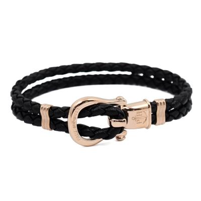 PAUL HEWITT 德國出品 Phinity黑色皮革編織 玫瑰金錨鍊釦鎖 手環手鍊