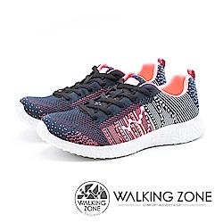 WALKING ZONE 天痕戶外W系列 飛線編織慢跑休閒 女鞋 - 黑桃