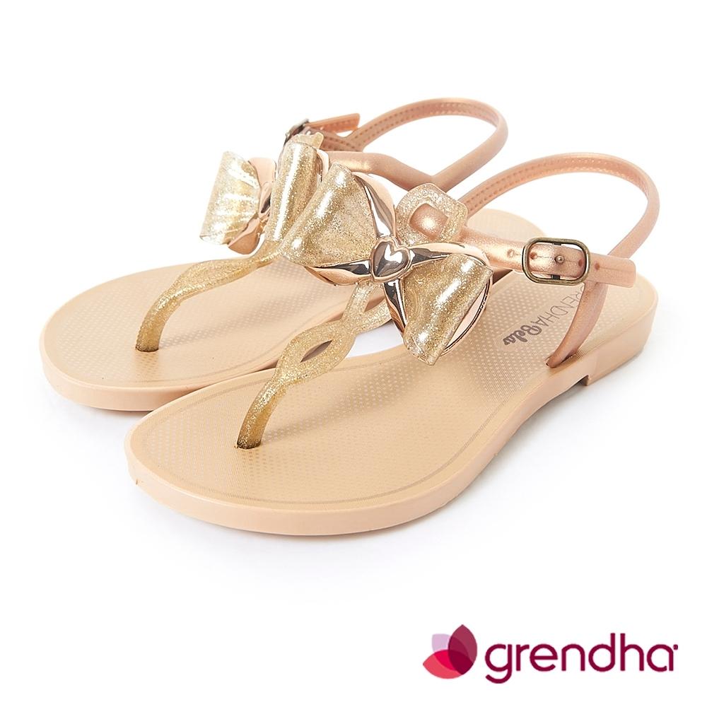 Grendha 金屬風夢幻蝴蝶結平底涼鞋-女童-金色