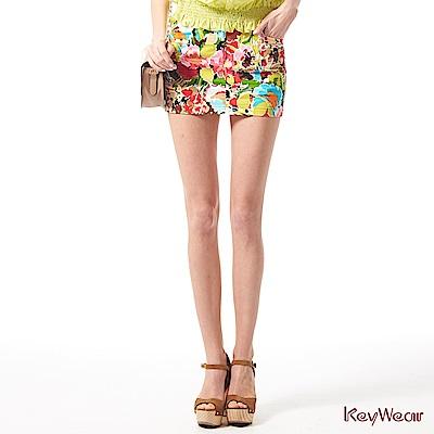 KeyWear奇威名品     亮彩繽紛時尚感褲裙-綜合色