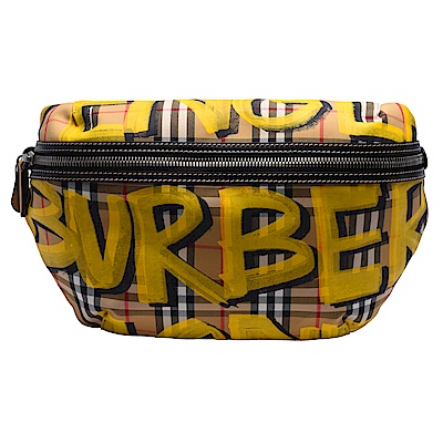 BURBERRY 經典Bum Bags系列塗鴉格紋帆布皮革飾邊腰包/斜背包(大-亮黃) @ Y!購物