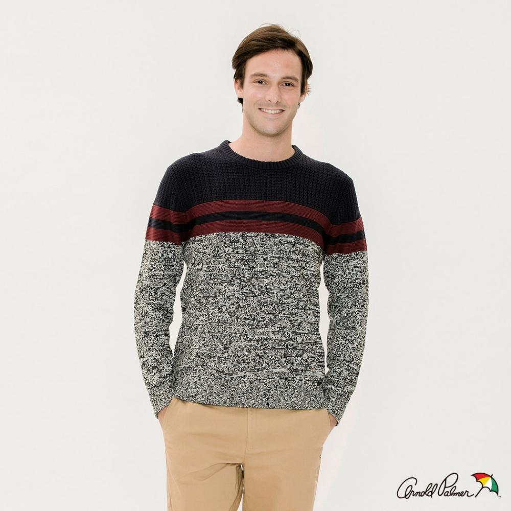 Arnold Palmer -男裝-色塊拼接條紋圓領線衫-灰