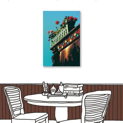 24mama掛畫-單聯式 攝影 紅色花卉 城市街景 無框畫 40X60cm-花盆
