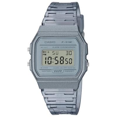 CASIO 復古造型活力舞動方型透明感設計數位休閒錶-透明灰(F-91WS-8)