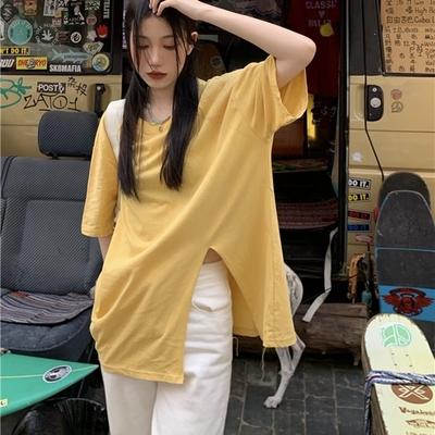 簡約寬鬆高開衩素色T恤-F(共五色)-沐朵