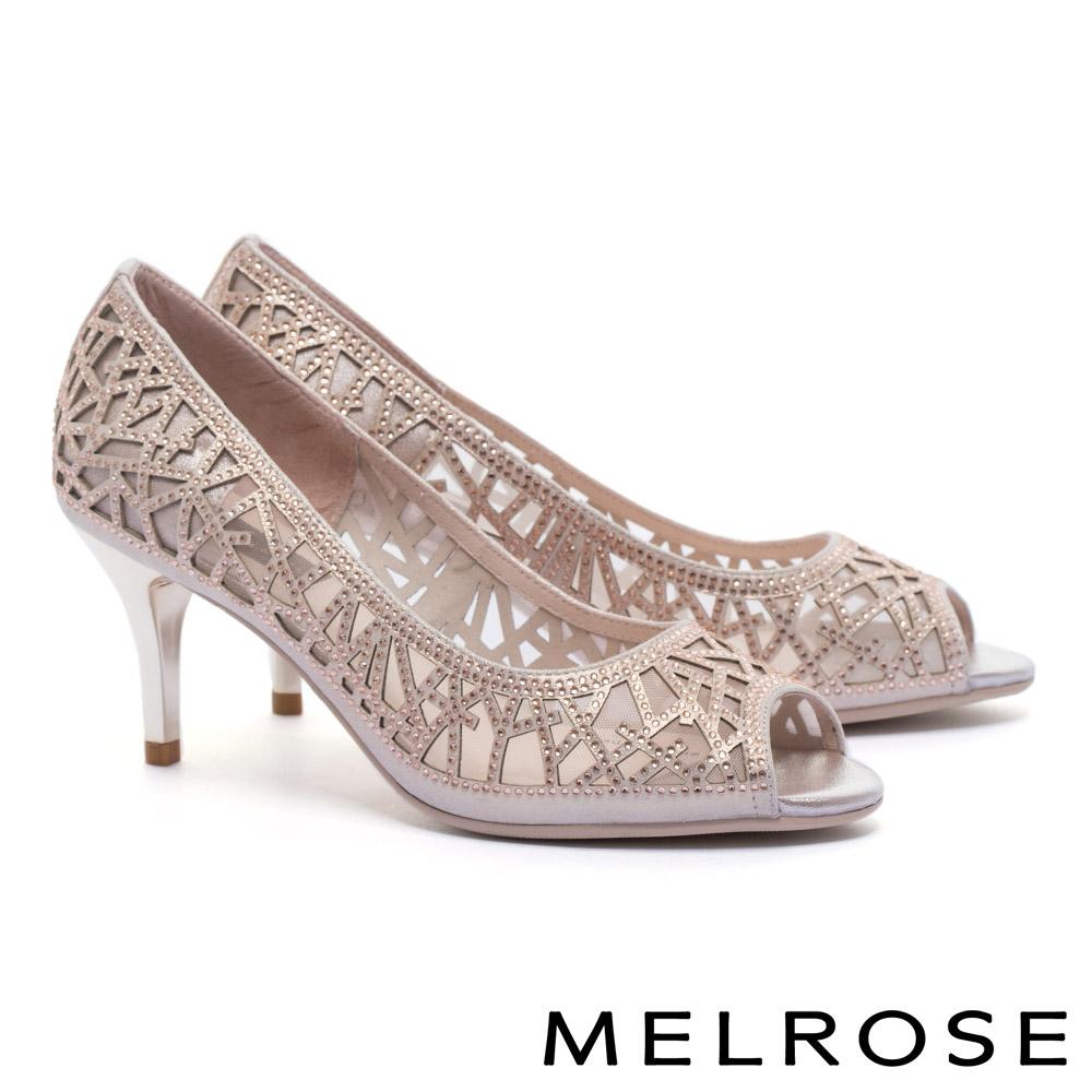 高跟鞋 MELROSE 迷人奢華晶鑽鏤空造型羊麂皮魚口高跟鞋-粉