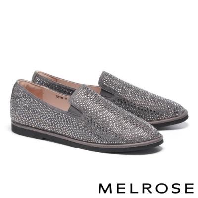 休閒鞋 MELROSE 魅力時尚晶鑽造型厚底休閒鞋-灰