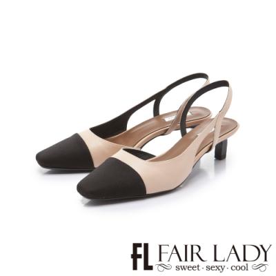 FAIR LADY 優雅小姐雙色拼接後拉帶貓跟涼鞋 小麥