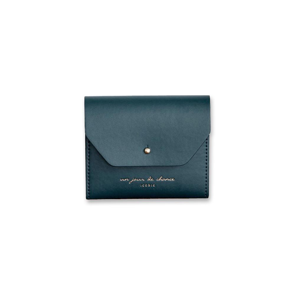 ICONIC 職人風格皮革票卡夾零錢包M-孔雀綠