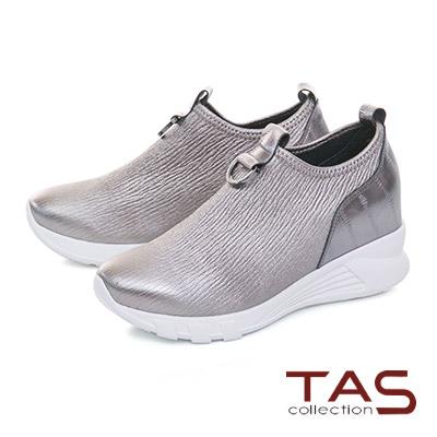 TAS金屬馬蹄扣飾彈力牛皮內增高休閒鞋–金屬灰